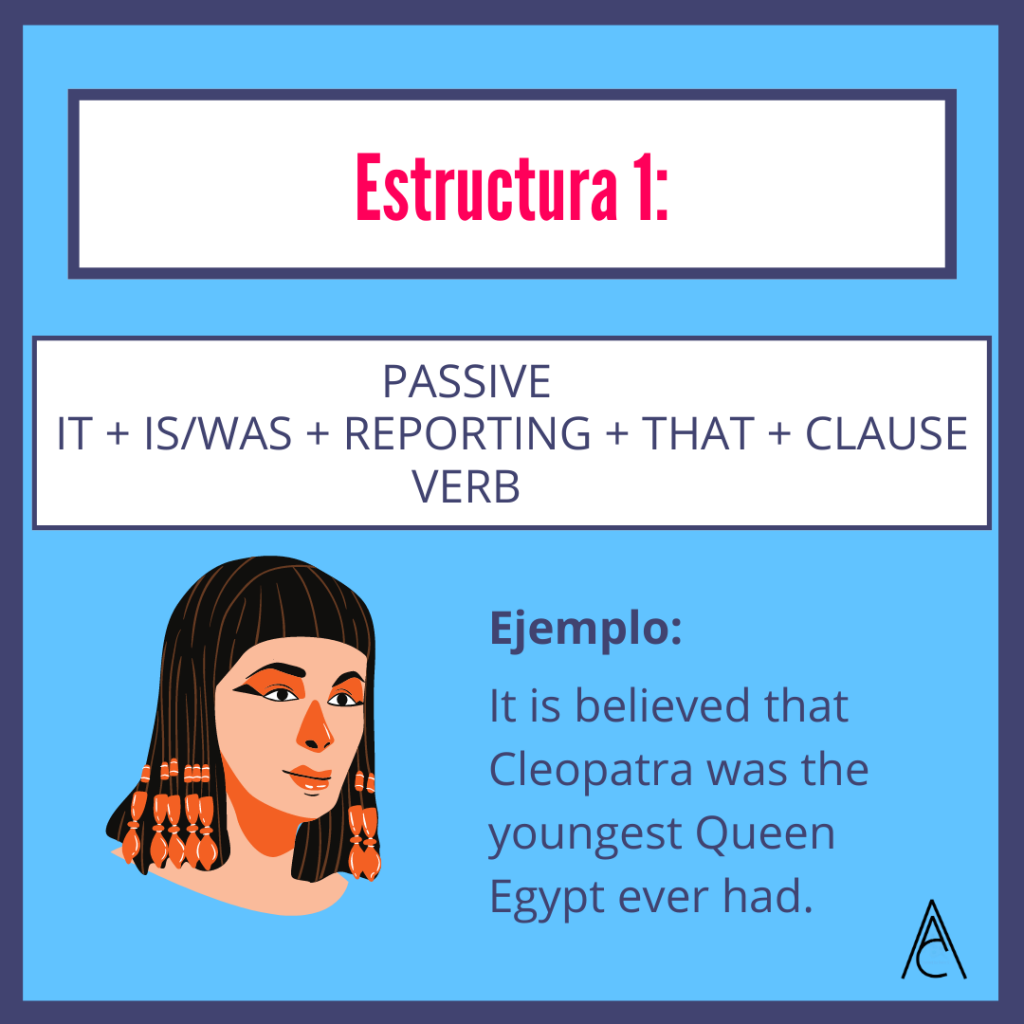 Passive Reporting Structures: It is believed that Cleopatra was the youngest Queen Egypt ever had.
