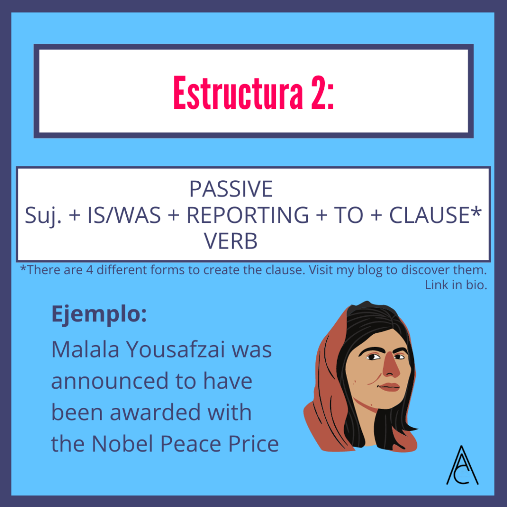 Passive Reporting Structures: Malala Yousafzai was announced to have been awarded with the Nobel Peace Price